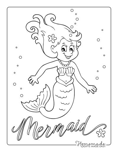 Mermaid Coloring Pages Cute Mermaid Shell Bikini