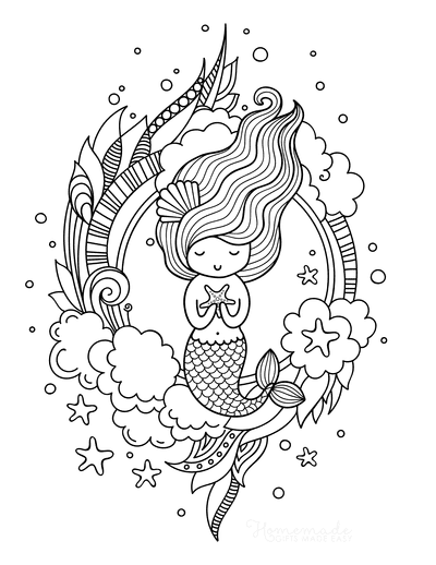 Mermaid Coloring Pages Cute Mermaid With Starfish and Flowing Hair