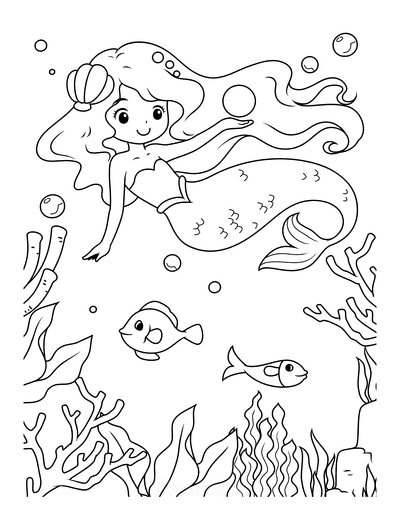 Mermaid Coloring Pages Cute Swimming