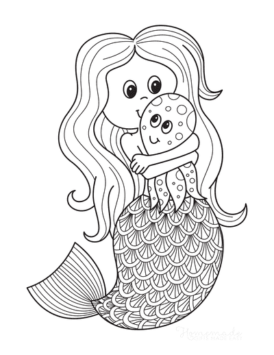 Mermaid Coloring Pages Cute With Octopus