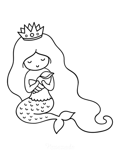 Mermaid Coloring Pages Easy With Conch Shell