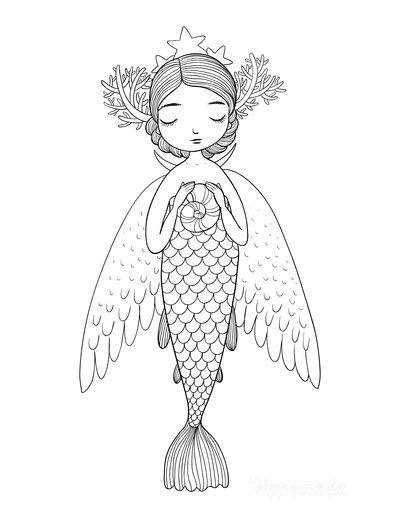 Mermaid Coloring Pages Fairy Wings