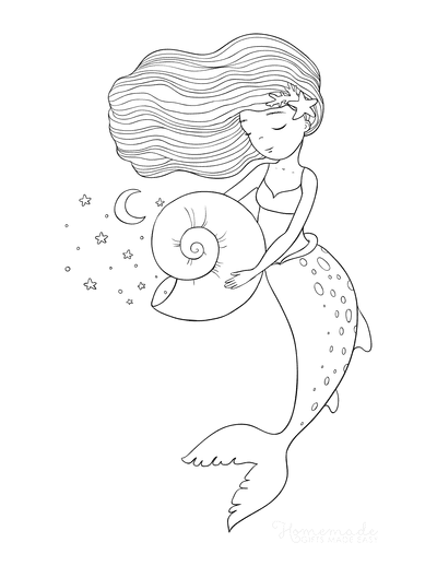 Mermaid Coloring Pages Flowing Hair Star Fish