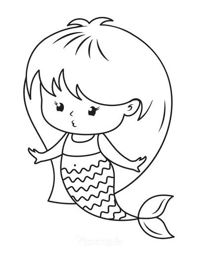 Mermaid Coloring Pages Girl Mermaid