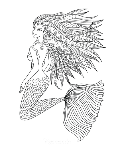 Mermaid Coloring Pages Intricate Pattern for Adults