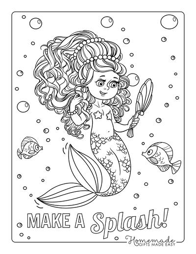 Mermaid Coloring Pages Looking at Mirror Big Hair
