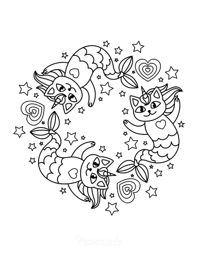 Mermaid Coloring Pages Mercats Swimming Stars Hearts