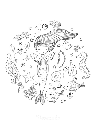 Mermaid Coloring Pages Mermaid Fairy Sea Animals