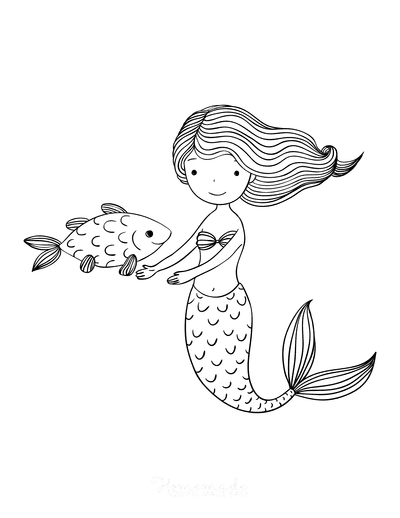 Mermaid Coloring Pages Mermaid Swimming With Fish