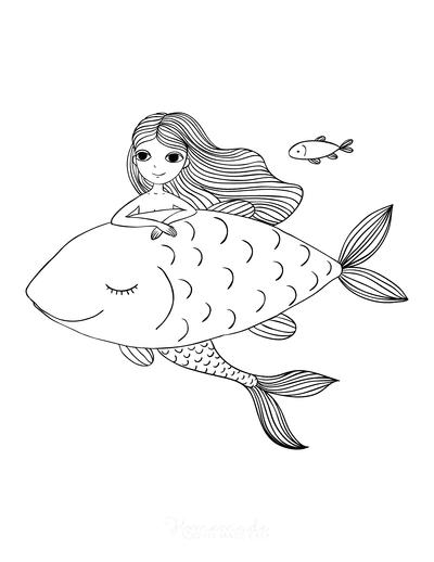 Mermaid Coloring Pages Mermaid With Big Fish