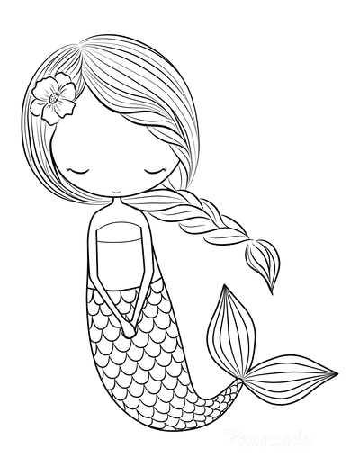 Mermaid Coloring Pages Plaited Hair Flower