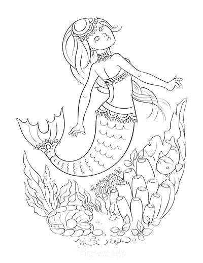 Mermaid Coloring Pages Sea Anenome Clam With Pearl