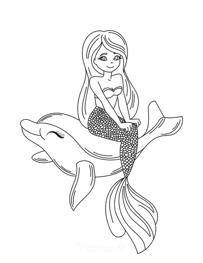 Mermaid Coloring Pages Sitting on a Dolphin