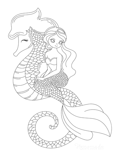 Mermaid Coloring Pages Sitting on Sea Horse