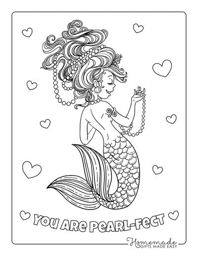 Mermaid Coloring Pages Strings Pearls Wild Hair