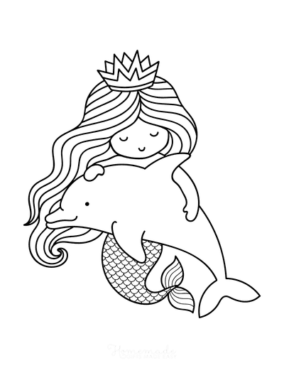 Mermaid Coloring Pages Swimming With Dolphin Cute