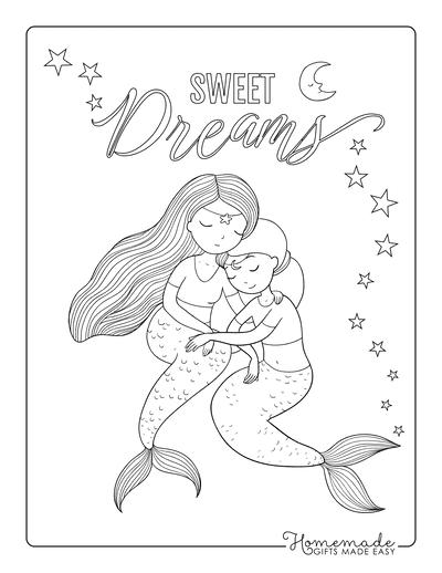 Mermaid Coloring Pages Two Mermaids Embracing