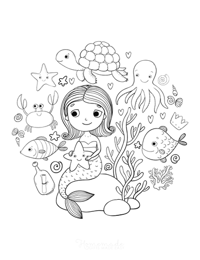 57 Mermaid Coloring Pages Free Printable Pdfs
