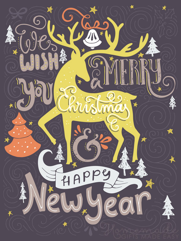 merry christmas images black yellow stag 600x797