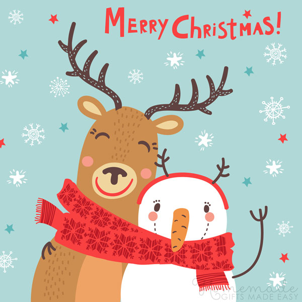 merry christmas images reindeer snowman 600x900