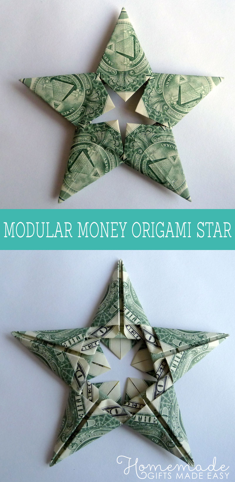 Modular Money Origami Star From 5 Bills