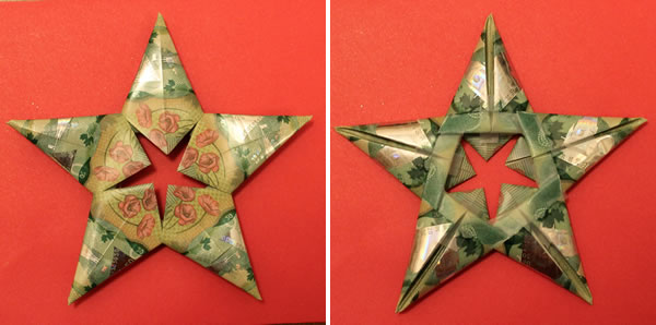 modular money origami star canadian plastic bills