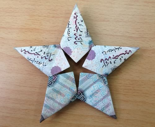 Modular Money Origami Star from 5 Bills - How to Fold Step ... - photo#4
