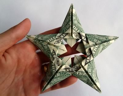 modular money origami star back