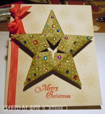 modular origami star christmas card