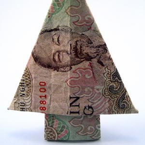 Folded Money Christmas Tree