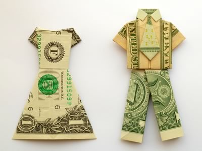 money origami dress and suit shirt and pants