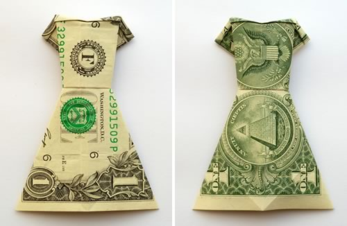 money origami dress dollar bill both sides