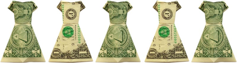 money origami dress header