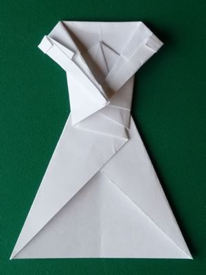 money origami dress step 7d