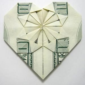 decorative money origami heart