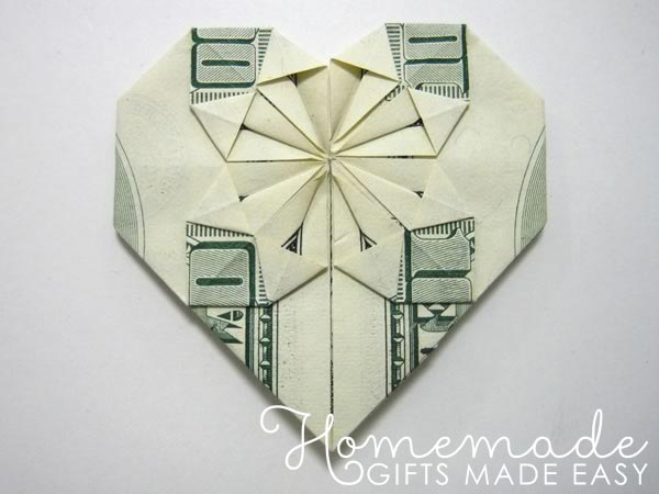 Money origami heart creative anniversary gifts