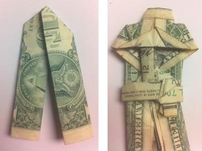 money origami suit