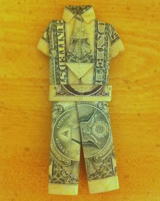 money origami suit