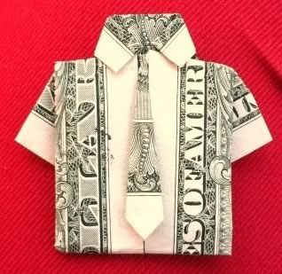 money origami shirt and tie pink background