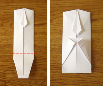 money origami shirt and tie step 12