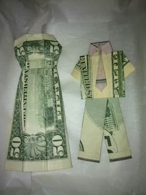 money origami wedding dress and suit
