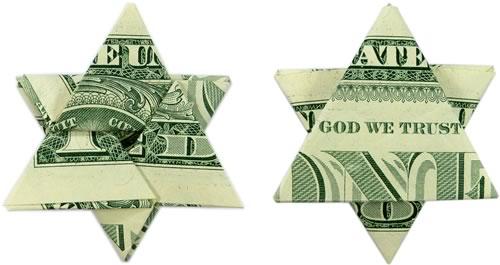 money origami star finished dollars