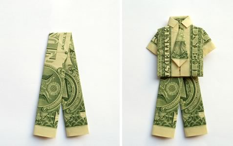 simple money origami trouser step 1