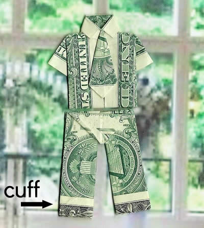nancy's money origami trousers with cuff