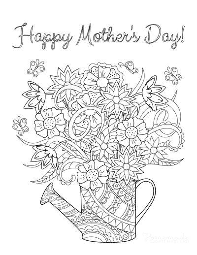 Mothers Day Coloring Pages Beautiful Flowers in Jug Doodle Teens