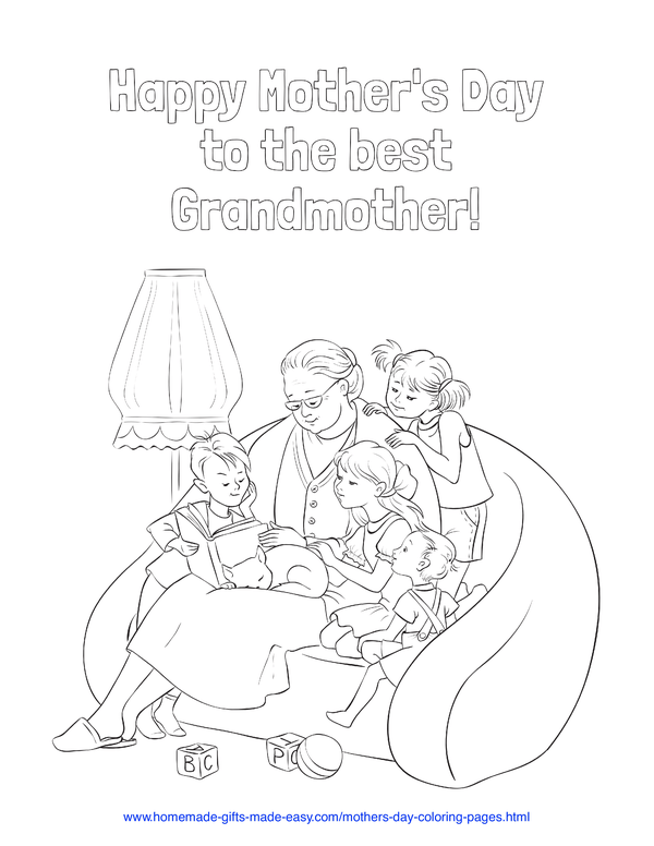 mother's day coloring pages - best grandmother