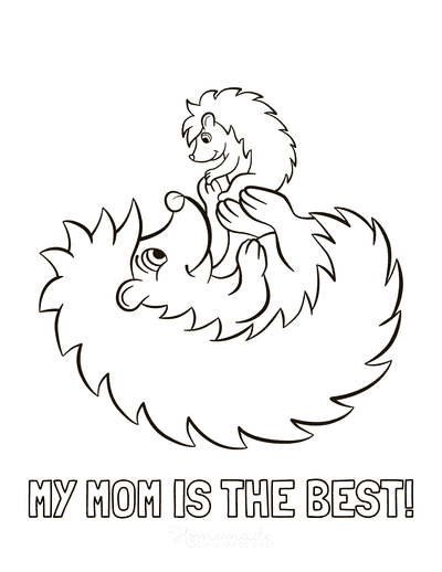 Mothers Day Coloring Pages Best Mom Baby Hedgehogs Cute