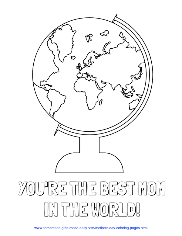 mother's day coloring pages - best mom in the world