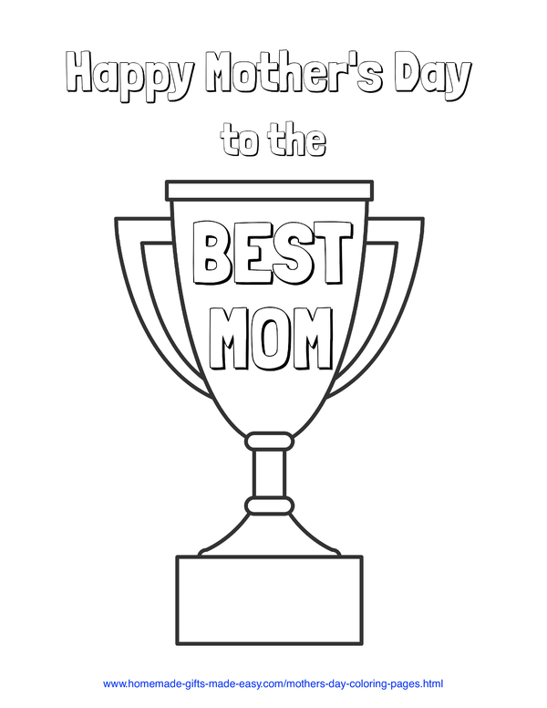 mother's day coloring pages - best mom trophy
