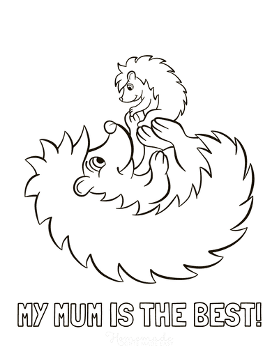 Mothers Day Coloring Pages Best Mum Baby Hedgehogs Cute